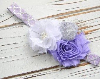 Shabby Chic Chiffon Headband - Lavender Chiffon Headband - Baby Lavender Headband - Purple Chiffon Headband