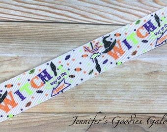 "Witch Way to the Candy on White Ribbon, 7/8"", Glitter Ribbon, Halloween Ribbon, Designer Ribbon, Ribbon for Bows, Ribbon by the Yard"