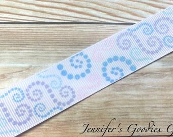 """Dotted Swirls Ribbon, 7/8"""", Glitter Ribbon, US Designer Ribbon, Christmas Ribbon, Hot Cocoa, Pastel Swirls, Winter, Ribbon by The Yard"""