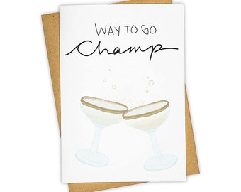 WAY TO GO . Champagne . Greeting Card . Congrats . Kraft Envelope