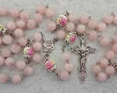Large Rosary, Rose Quartz, Rose Ceramic Beads, Rose Our Lady of Lourdes Center, Five Decade, Strong, Stainless Steel, Large Gemstone Rosary