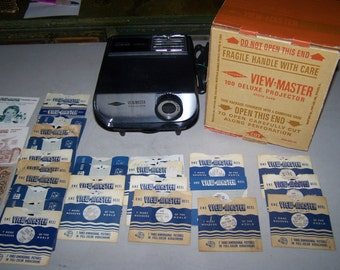 Vintage Sawyers Viewmaster 100 Projector and 12 Viewmaster Reels From the 1940's and 1950's