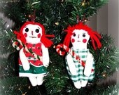 SALE Happy New Years Day Folk Art Christmas Raggedy Ann Doll Christmas Ornies Ornaments Set of 2 keb#6