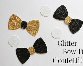 Bow Tie Confetti, Little Man, black,  gold, wedding, party, NYE, birthday, shower, reunion, corporate event, black glitter
