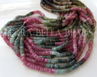 "Full 16"" strand WATERMELON TOURMALINE smooth gem stone heishi rondelle beads 4mm - 4.5mm pink green"