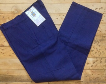French 1950s Men Work Workwear Chore Cotton Pants - Deep Blue Bleu de Verdun - MADE IN FRANCE - New & Tag - L - Waist : 37