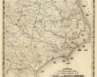 1863 Map of North Carolina