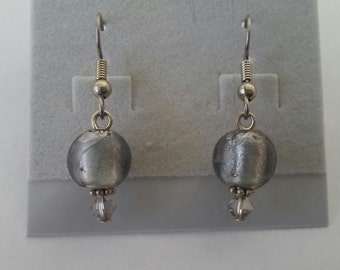 Silver Foil Glass Earrings with Swarovski Crystal