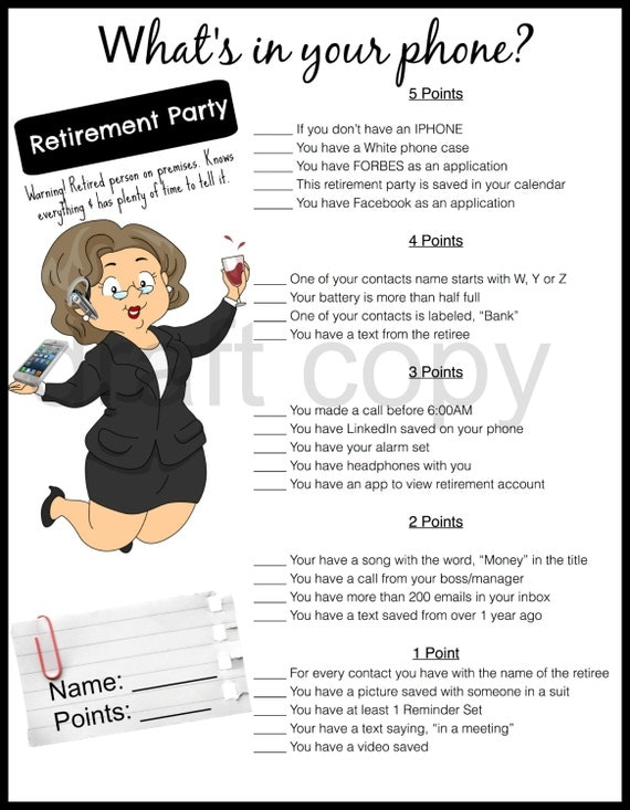 Retirement Party Game-Whats in your phone