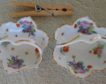 Pair of Tiny White China Baskets with a Floral Design ~ Vintage Figurines ~  Made in Japan