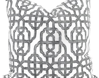Lacefield Imperial Gray Trellis Decorative Pillow Cover, Throw Pillow, Accent Pillow, Pillow Sham