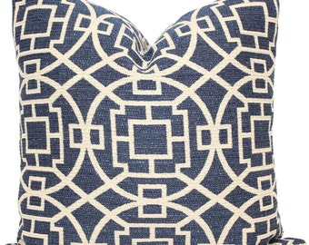 Decorative Pillow Cover, Blue and Cream Circular Trellis, Accent Pillow, Throw Pillow, Pillow Cushion, Made to order square or lumbar pillow