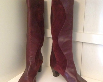 Vintage 1980s size 7 burgundy suede and leather boots