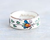 Enamel Ring Band - White and With Colorful Flowers - Size 7.5 - Signed Austria
