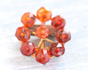 Amber Colored Lapel Pin - Vintage Brooch