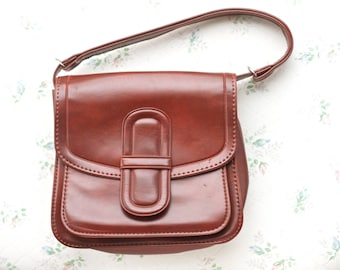 Vintage Brown Satchel - Faux Leather Shoulder Bag - 70s Handbag - Seventies Purse