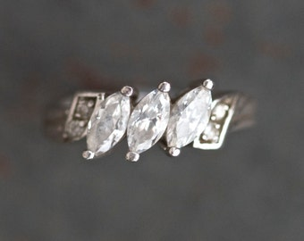 Antique Engagement Ring - art Deco - Sterling Silver - Trinity Ring Size 6.5