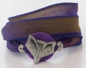 Purple Fox, Whirly Wrap, Silk Ribbon, Wrap Bracelet, Fox, Foxy Lady, Fox bracelet, lilac and chocolate silk, secure magnet,