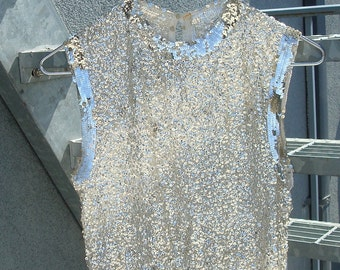 Silver metallic glam top
