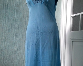 Vintage Negligee Slip from the Soviet era in Blue color, manufactured in the GDR in the 1970s