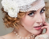 Bridal Lace Cap - Flower Lace Cap with Vintage Glass Pearl and Rhinestone Clip - Flapper Style Headpiece
