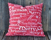Merry Christmas Decorative Pillow Cover - Large Holiday Pillow Cover - Accent Pillow Slip Cover - 20 x 20 - Zipper Closure - Red Xmas Decor