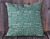 Christmas Decorative Pillow Cover - Large Holiday Sayings Pillow Cover - 20x20 Accent Pillow Slip Cover - Zipper Closure - Green Xmas Decor