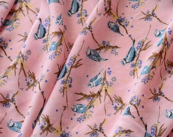 cute blue brid on the branch pink cotton rayon  fabric one yard