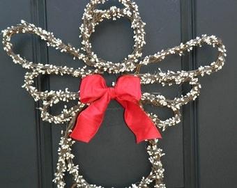 Christmas Wreath - Angel Wreath - Holiday Door Decor - Choose Ribbon Bow Color
