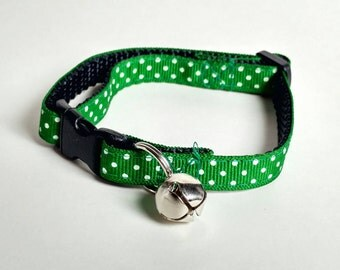 Cat Collar - Green with Small White Polka Dots