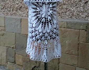 Crochet Circle Bolero, White Mandala Bolero, Flower Wedding Bolero,Lace Circular Vest Bohemian Wrap, Boho Style Vest, Bridal Shrug,