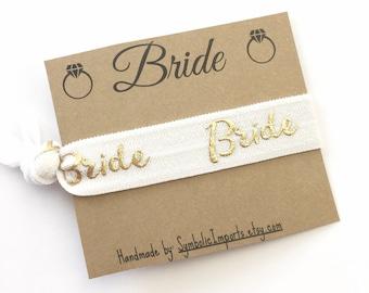 Bride Hair Tie Favor - Hair Tie Bride Gift - Bride To Be Gift - Hair Tie Favor - Bridal Party Gift - White and Gold Wedding Hair Tie