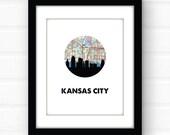Kansas City skyline art print | Kansas City art | Kansas City map print | Kansas City Missouri art | skyline Kansas City print | KC wall art