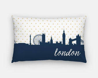 London skyline pillow | London pillow | London decor | gold polka dot pillow | London throw pillow | London, England pillow | London home