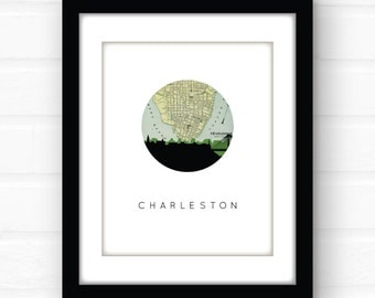 Charleston map print | Charleston SC map print | Charleston print | Charleston art print | Charleston SC art print | Charleston wall art