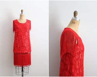 Vintage Red Lipstick Flapper Dress / 1920s Inspired Gatsby Dress / Lace Fringe Red Dress/  Size S/M