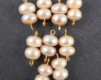 10pcs, handmade 2 loop Pearl connector, 2 loop pearl drop-genuine Pearls ,2 loop link