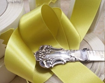 """1"""" Vintage Double Faced Satin Ribbon Green Yellow Chartreuse  Acetate/Rayon"""