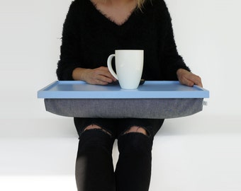 Lap Desk or Breakfast serving Tray - Light blue tray with Denim pillow