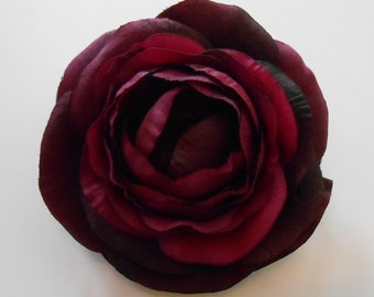 Silk Flower / Purple Ranunculus / Eggplant Colored Silk Flowers / Crafting Flowers / Ranunculus / Artificial Flowers / Diy Hair Flowers