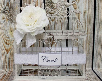 Cream Birdcage Wedding Card Holder / Birdcage Card Holder / Wedding Card Box / Birdcage / Wedding Decorations / Decorative Birdcage