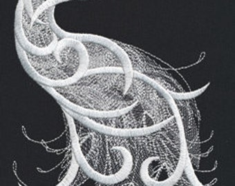 Fragile Peacock Embroidered Flour Sack Hand/Dish Towel