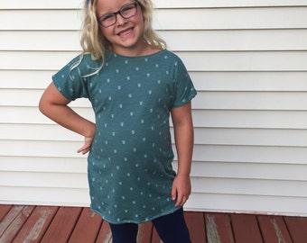 Girls Knit Tunic Short Sleeve Shirt Top Girls Knit Tunic T-shirt Teal Back to School Basic Girls Tee