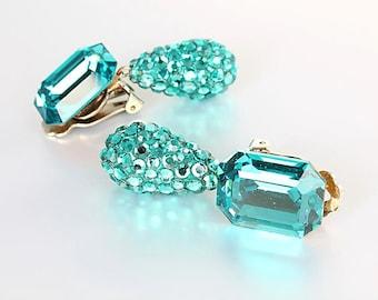 Teal Rhinestone Earrings, vintage Crystal Teardrop Dangle Bellini Formart