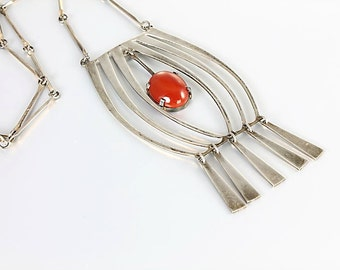 Modernist Sterling Necklace, Israel Necklace jewelry, Carnelian silver Vintage jewelry