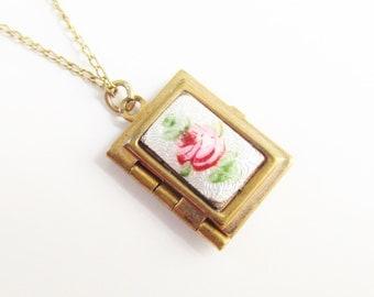 Vintage Enameled Guilloche Rose Book Locket Pendant Necklace GF