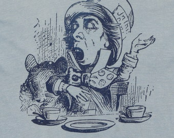 Mad Hatter Alice In Wonderland Shirt 1980s Vintage Tshirt Tea Party Rare L 80s