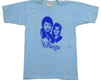 Wings Paul and Linda McCartney 1970s Vintage t Shirt Rare Original 70s rock tee