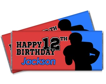 Blue and Red Silhouette Football Candy Bar Wrappers - Football Birthday Party Favors - Set of 12 - #IDBB164