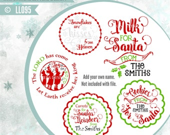 Christmas Plates Mugs Cookies Milk Carrots for Santa LL095  - SVG - Cut File - ai, eps, svg (Circut), dxf (for Silhouette users), png, jpg